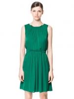 ชุดเดรสทำงานแฟชั่น สีเขียว คอจีบ ไม่มีแขน เอวยางยืด กระเป่าสองข้าง (ใหม่ พร้อมส่ง) ร้าน Ladyshop4u