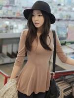 เสื้อทำงาน เสื้อแฟชั่นเกาหลี เสื้อแขนสี่ส่วนผ้ายืด+สแปนเด็ก สีโอวัลติน เอวเข้ารูป ชายเสื้อบาน ขยายออกสลับกับผ้าซีฟอง (ใหม่ พร้อมส่ง) ร้าน LadyShop4U