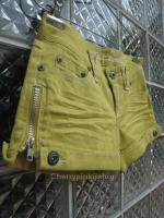 กางเกงยีนส์ขาสั้น สีเหลืองสวยสดใส ขอบกางเกงด้านในปัก vintage เก่ไก๋สไลเดอร์