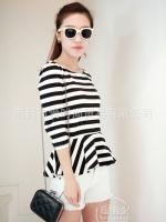 เสื้อแฟชั่นเกาหลี ลายขวางขาวดำ ผ้ายืด ซิปหลัง แขนยาว (ใหม่ พร้อมส่ง) ร้าน Ladyshop4u