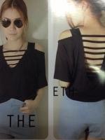 เสื้อแฟชั่น สีดำ โชว์หลัง เสื้อลำลอง เสื้อเซ็กซี่ (ใหม่ พร้อมส่ง) ร้าน LadyShop4U