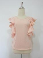 (สีเบจส้ม) เสื้อแฟชั่นทำงานออฟฟิศเกาหลี สีเบจส้ม ด้านหน้าคอกลม ด้านหลังคอวี แขนระบาย ซิปหลัง ผ้าคอตตอน (ใหม่ พร้อมส่ง) ร้าน LadyShop4U