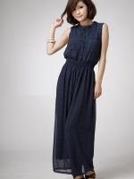 จั๊มสูทกางเกงขายาว สีน้ำเงิน ติดกระดุมด้านหน้า จั๊มเองยายืด (ใหม่ พร้อมส่ง)ร้าน LadyShop4U