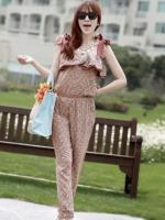 จั๊มสูทกางเกงขายาวเกาหลี ชุดหมีน่าัรัก สีน้ำตาลอ่อนลายดอกไม้ เอวยืด (ใหม่ พร้อมส่ง)ร้าน LadyShop4U