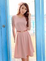 (สีชมพู) ชุดเดรสแซกสั้นทำงานออกงานเกาหลี เสื้อแขนยาวผ้าตาข่าย คอกลม มีเข็มขัดหนัง ซิปข้าง (ใหม่ พร้อมส่ง) ร้าน Ladyshop4u