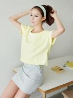 ชุดเดรสสั้นแฟชั่นเกาหลี สีเหลือง เทา เสื้อสีเหลืองแยกชิ้นกันเดรสแขนกุดสีเทา (ใหม่ พร้อมส่ง) ร้าน Ladyshop4u