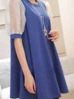 ชุดเดรสเกาหลีสั้น สีน้ำเงิน คอกลม แขนผ้าแก้ว ทรงสามเหลี่ยม ชุดเดรสแฟชั่น ชุดเดรสเกาหลีน่ารัก (ใหม่ พร้อมส่ง) ร้าน Ladyshop4u