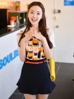 กระโปรงแฟชั่นเกาหลีน่ารัก สีกรม ไซส์ M มาพร้อมเข็มขัดสีส้ม (ใหม่ พร้อมส่ง) ร้าน Ladyshop4U