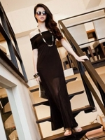 Pre order (สีดำ) ชุดเดรสแซกยาว เสื้อผ้ายืดสีดำ กระโปรงผ้าชีฟองบานสีดำ โชว์ไหล่ เอวเข้ารูป ชุดเดรสแฟชั่น ชุดเดรสเกาหลี(ใหม่ พรีออเดอร์) ร้าน Ladyshop4u