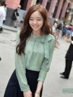 เสื้อทำงานแฟชั่นเกาหลี คอผูกโบว์ แขนยาว ผ้าชีฟอง สีเขียว ลายน่ารัก (ใหม่ พร้อมส่ง) ร้าน LadyShop4U