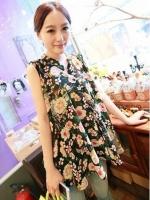 (สีตามรูป)เสื้อเชิ้ตแฟชั่นเกาหลีทำงานออฟฟิศ แขนกุด คอจีน ผ้าชีฟอง ลายดอก( ใหม่ พร้อมส่ง) ร้าน LadyShop4U