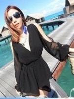 (สีดำ)ชุดจั๊มสูทกางเกงขาสั้นแฟชั่นเกาหลี แขนยาว ผ้าชีฟอง เว้าไหล่ เอวสม๊อกยางยืด กางเกงขาสั้น (ใหม่ พร้อมส่ง) ร้าน Ladyshop4u