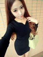 Pre order (สีดำ)ชุดเดรสแซกสั้นแฟชั่นเกาหลี คอวี แขนยาว เข้ารูป (ใหม่ พรีออเดอร) LadyShop4u