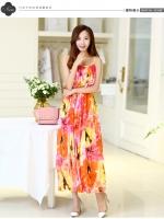 (สี้โทนส้ม) ไซส์ L ชุดเดรสแซกยาวแฟชั่นเกาหลีชุดไปเที่ยวทะเลสวยๆ สีส้ม พิมพ์ลายดอกไม้ สายเดี่ยวปรับได้ ช่วงอกเป็นระบาย เม็กซี่เดรส เอวยืด ผ้าชีฟอง(Maxi Dress) (ใหม่ พร้อมส่ง) ร้าน Ladyshop4u