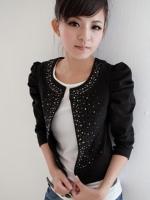 เสื้อทำงานแฟชั่นเกาหลี สีดำ แขนยาว ผ้าชีฟอง (ใหม่ พร้อมส่ง) ร้าน LadyShop4U