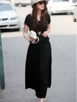 (สีดำ)ชุดเดรสแซกยาวเกาหลีนำเข้า สีเทา คอกลม แขนสั้น เข้ารูป ผ้ายืด (ใหม่ พร้อมส่ง) ร้าน Ladyshop4u