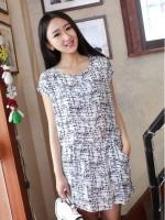 (สีขาวดำ)ชุดเดรสแซกสั้นแฟชั่นเกาหลี เดรสน่ารัก กระเป๋าหน้า แขนกุด คอกลม เอวยืด เดรสสีดำลายสีขาว(ใหม่ พร้อมส่ง) ร้าน Ladyshop4u