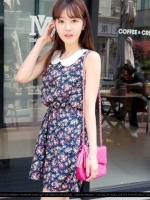 เดรสลายดอก (mini dress) เดรสสั้น เดรสสำลอง เดรสทำงาน เดรสออกงาน ลายดอกไม้ สีกรม คอบัวลูกไม้ แขนกุด จั๊มเองยางยืด (ใหม่ พร้อมส่ง) ร้าน Ladyshop4U