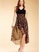 (ลายเสือ)ชุดเดรสแซกสั้นแฟชั่นเกาหลี คอวี แขนกุด ช่วงบนสีดำ ผ้ามันๆ ช่วงล่างเป็นลายเสือ ผ้าชีฟอง มีซับใน หน้าสั้นหลังยาว เอวด้านหลังเป็นยางยืด (ใหม่ พร้อมส่ง) ร้าน Ladyshop4u