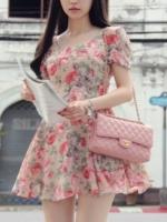 ชุดทำงานเกาหลีสุดหวาน ลายดอกไม้ คอกลม แขนสั้น เข้ารูป กระโปรงบาน ชุดทำงานแฟชั่น (ใหม่ พร้อมส่ง) ร้าน Ladyshop4u