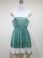 (สีเขียวขาว)ชุดเดรสสั้นแฟชั่นเกาหลี สีเขียว แขนกุด คอกลม ผ้าชีฟอง ซับในสีขาว (ใหม่ พร้อมส่ง) ร้าน Ladyshop4u