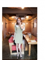 เดรสสั้นสีเขียว เดรสทำงาน เดรสแฟชั่น เดรสน่ารัก เดรสชีฟอง แขนระบาย คอบัว (ใหม่ พร้อมส่ง) ร้าน ladyshop4u