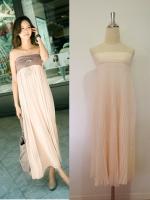 (สีเบจส้ม) กระโปรง/เดรสเกาะอก : ช่วงเอวเป็นผ้าคอตตอนยางยืด กระโปรงยาวอัดพลีท มีซับในเต็มตัว สามารถใส่เป็นชุดเดรสเกาะอกได้ค่ะ (ใหม่ พร้อมส่ง) ร้าน LadyShop4u