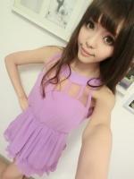 ชุดเดรสสั้น สีม่วง คอกลม แขนกุด เอวเข้ารูป กระโปรงบาน ชุดเดรสแฟชั่น ชุดเดรสเกาหลี ชุดเดรสเซ็กซี่ (ใหม่ พร้อมส่ง) ร้าน Ladyshop4u