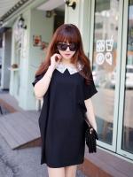 Pre Order (สีำดำ)ชุดเดรสสั้นแฟชั่นเกาหลี สีดำ คอปก แขนสั้น (ใหม่ พรีออเดอร์) ร้าน Ladyshop4u