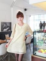 ชุดเดรสทำงาน ชุดเดรสลูกไม้ ชุดเดรสสั้น ชุดเดรสเกาหลี คอปก แขนยาว ผ้าลูกไม้มีซับในที่ตัวยกเว้นแขน สีขาว (ใหม่ พร้อมส่ง)ร้าน LadyShop4U
