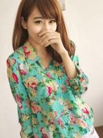 (สีเขียว)เสื้อเชิ้ตทำงานแฟชั่นเกาหลี เสื้อเที่ยวทะเล แขนยาว คอปก กระดุมหน้า กระเป๋าหน้า ลายดอกไม้น่ารัก สวมใส่สะบาย (ใหม่ พร้อมส่ง) ร้าน LadyShop4U