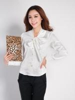 เสื้อทำงานแฟชั่น เสื้อทำงานออฟฟิต สีขาว ผ้าไหมมัน แขนยาว กระดุมหน้า มีโบว์ด้านหน้า (ใหม่ พร้อมส่ง) ร้าน LadyShop4U