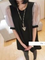 ชุดเดรสเกาหลีสั้น สีดำ คอกลม แขนผ้าแก้ว ทรงสามเหลี่ยม ชุดเดรสแฟชั่น ชุดเดรสเกาหลีน่ารักๆ (ใหม่ พร้อมส่ง) ร้าน Ladyshop4u