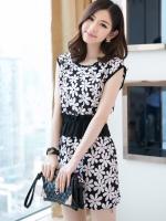 (สีขาวดำ)ชุดเดรสแซกสั้นแฟชั่นเกาหลี น่ารัก ลายดอกสีขาว พื้นสีดำ คอกลม แขนกุด ผ้าชีฟองเนื้อทราย เอวยืด (ใหม่ พร้อมส่ง) ร้าน Ladyshop4u