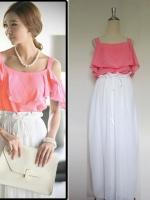 (สีส้มโอรส) ชุดเดรสแซกสั้นแฟชั่นเกาหลี 2 ชิ้น เสื้อผ้าชีฟองสีส้มโอรส สายเดี่ยว กระโปรงยาวสีขาว ซิบข้าง ซับในครึ่งตัวมีโบว์ผูกด้านหน้า (ใหม่ พร้อมส่ง) ร้าน Ladyshop4u