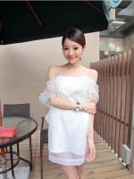 Pre order (สีขาว) ชุดเดรสแซกสั้นแฟชั่นเกาหลี สายเดี่ยว ผ้าชีฟอง ซับในสีขาว (ใหม่ พรีออเดอร) LadyShop4u