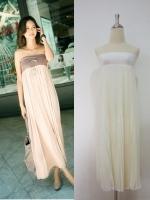 (สีครีม) กระโปรง/เดรสเกาะอก : ช่วงเอวเป็นผ้าคอตตอนยางยืดสีขาว กระโปรงยาวอัดพลีท มีซับในเต็มตัว สามารถใส่เป็นชุดเดรสเกาะอกได้ค่ะ (ใหม่ พร้อมส่ง) ร้าน LadyShop4u