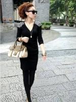 เดรสสั้น mini dress (เดรสลำลอง) สีดำ คอกลม แขนยาว ปักเลื่อมที่ไหล่ เข้ารูป เดรสแฟชัน เดรสทำงาน เดรสรัดรูป เซ็กซี่ (ใหม่ พร้อมส่ง)ร้าน LadyShop4U