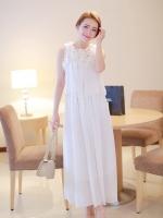 Pre order (สีขาว)ชุดเดรสแซกยาวแฟชั่นเกาหลี ผ้าชีฟอง คอประดับดอกไม้น่ารัก เสื้อสองชั้น เอวยืด ซับในอย่างดี(ใหม่ พรีออเดอร์) ร้าน Ladyshop4u