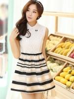(สีดำ) ชุดเดรสแซกสั้นแฟชั่นเกาหลี ชุดทำงาน เสื้อสีขาวผ้าลูกไม้ คอปกประดับคริสตัล แขนกุล เย็บติดกระโปรงลายขวางสีเบจสลับสีดำ ผ้าแก้ว มีซับใน ซิปหลัง (ใหม่ พร้อมส่ง) ร้าน Ladyshop4u สำเนา