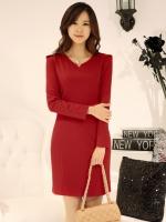 (สีแดง) ชุดเดรสแซกสั้นทำงานแฟชั่นเกาหลีนำเข้า สีแดง แขนยาว คอเหลี่ยม เข้ารูป ซิปข้าง พร้อมเข็มขัดสีดำ(ใหม่ พร้อมส่ง) ร้าน Ladyshop4u