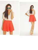กระโปรงสั้น สีส้มแสดสสะท้อนแสง น่ารักมาก ๆ ผ้า Velvet (ใหม่ พร้อมส่ง) ร้าน Ladyshop4u