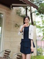 สีขาว เสื้อแจ็คเก็ต เสื้อคลุมแขนยาว ตัวสั้น เย็บขะเข็บดำ (ใหม่ พร้อมส่ง) ร้าน Ladyshop4u