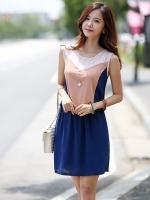 ชุดเดรสแฟชั่น สีน้ำเงิน คอกลม แขนกุด (ใหม่ พร้อมส่ง) ร้าน Ladyshop4u
