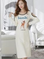 (สีครีม)ชุดเดรสแซกยาวแฟชั่นเกาหลี คอกลม แขนยาว เว้าไหล่ ผ้ายืด (ใหม่ พร้อมส่ง) ร้าน Ladyshop4u