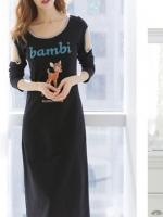 (สีดำ)ชุดเดรสแซกยาวแฟชั่นเกาหลี คอกลม แขนยาว เว้าไหล่ ผ้ายืด (ใหม่ พร้อมส่ง) ร้าน Ladyshop4u
