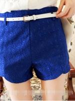 กางเกงขาสั้นเอวสูง ปักลาย สีน้ำเงิน (ใหม่ พร้อมส่ง) ร้าน Ladyshop4u