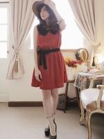 เดรสสั้น สีแดง มินิเดรส เดรสทำงาน เดรสแฟชั่น เดรสน่ารัก เดรสชีฟอง คอบัว แขนกุด (ใหม่ พร้อมส่ง) ร้าน Ladyshop4u