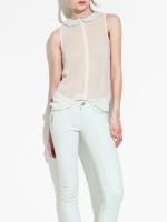 เสื้อ คอปก แขนกุด ผ้าชีฟองโปร่งแสง สีขาว (สินค้าใหม่ พร้อมส่ง) ร้าน Ladyshop4u