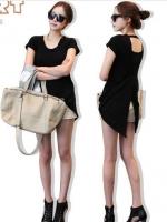เสื้อแฟชั่น เสื้อลำลอง เสื้อเกาหลี เสื้อเซ็กซี่ สีดำ คอกลม ปิดหลัง ผ้ายืด (ใหม่ พร้อมส่ง) LadyShop4u